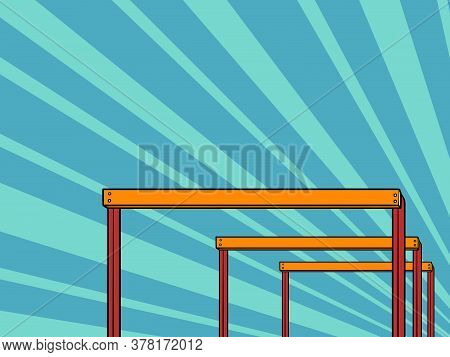 Cross-country Barriers Obstacles. Pop Art Retro Vector Illustration Kitsch Vintage 50s 60s Style