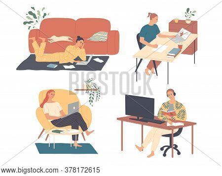 Freelance People Work At Home. Freelancer Character Working From Home Office Workplace. Self Employe