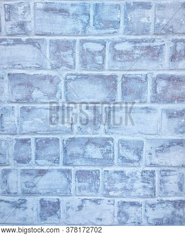Retro Whitewash Old Brick Wall Surface. White Rustic Background Texture. Vintage Structure. Design E
