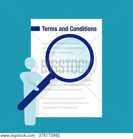 Terms And Conditions Of Service - List Of Rules With Human Icon Holding Magnifier - Vector Illustrat