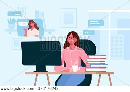Kids Characters Learn Remotely. Girl Sitting At Desk, Looking At Computer Screen And Studying Online