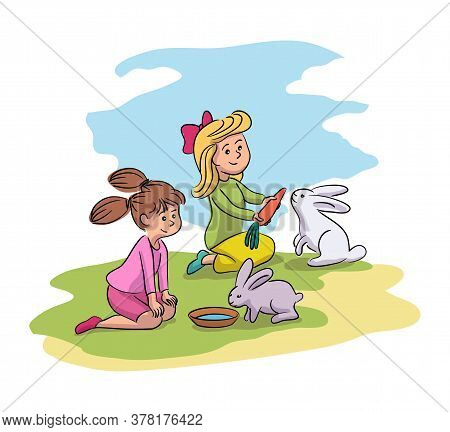 Two Adorable Girl Friend Feeding Cute Rabbit With Carrot, Giving Water. Happy Children Taking Care F