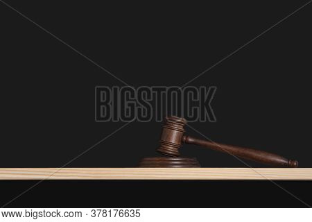 Mallet Of The Judge On Black Background. Judges Gavel. Hammer Auction.