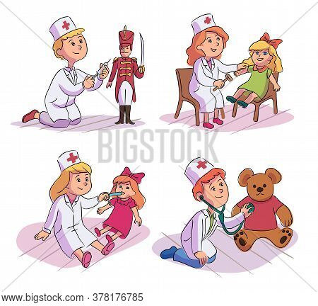 Cute Kid Wearing White Coat Playing Doctor. Children Examining Treating Toy Doll, Teddy Bear, Soldie