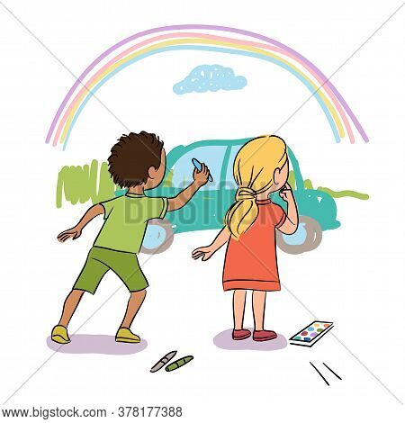 Cute Little Boy And Girl Painting Wall With Chalk. Kids Drawing Car. Playground, Kindergarten, Stree