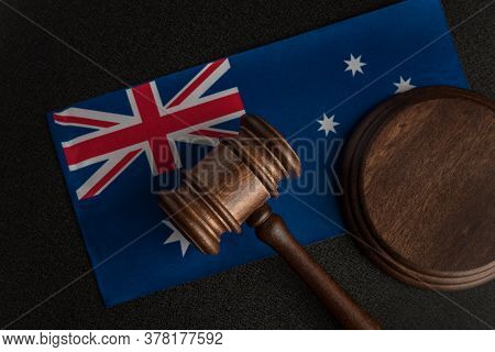 Judge Gavel On Australian Flag. Court In Australia. Australian Auction.