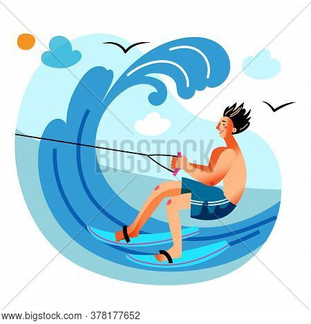 Young Man Engaged In Water Skiing In Sea Or Ocean Wave. Water Sport Activity On Ski Or Wakeboard. Ex