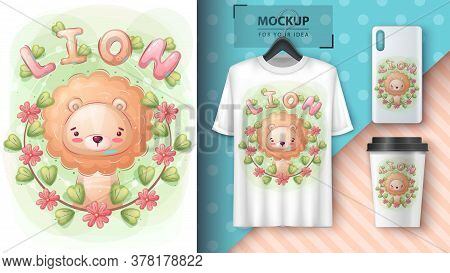 Cute Leaf In Theflower Forest Poster And Merchandising. Vector Eps 10