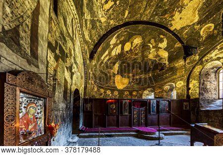 Vardzia , Georgia - August 14, 2019 : cave monastery of Vardzia landmark of Samtskhe Javakheti region Georgia eastern Europe