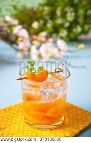 Summer Cold Drink Homemade Apricot Lemonade Ice Tea With Ice Cubes And Mint