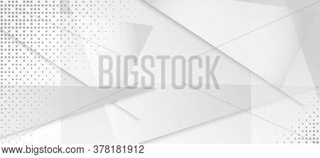 Halftone Minimal Gray Vector Background. Geometric Dots Texture. Halftone Wallpaper. Gray White Shad