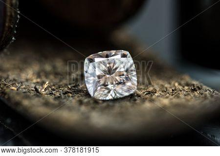 Cushion Cut Diamond. Jeweler Background. Precious Loose Stone