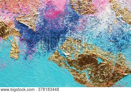 Abstract acrylic  smear blot painting with cold glitter. Color horizontal texture background.