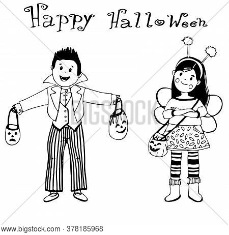 A Boy And A Girl, Brother And Sister, Drew Contour Doodles In Isolation, Dressed In The Costume Of C