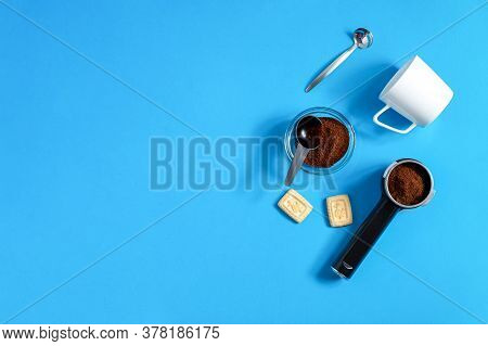 Set Items For Espresso In A Coffee Machine - Holder, Ground Coffee, Coffee Cup. View From Above, Hor