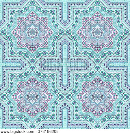 Abstract Moroccan Zellige Tile Seamless Pattern. Ethnic Structure Vector Swatch. Carpet Print Design