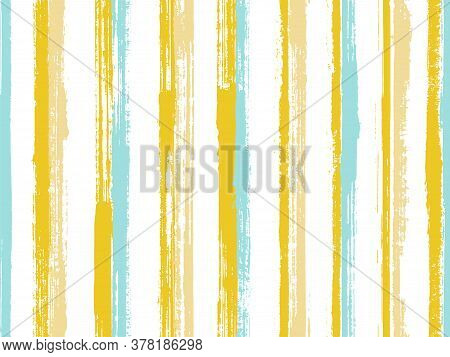 Watercolor Brush Stroke Straight Lines Vector Seamless Pattern. Minimal Cotton Fabric Print Design.