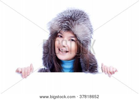 smiling winter woman hold banner