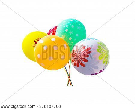 Bunch Of Colorful Air Balloons. Shadowless Isolated On White Background