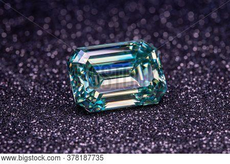 Emerald Cut Diamond. Blue Big Precious Gemstone