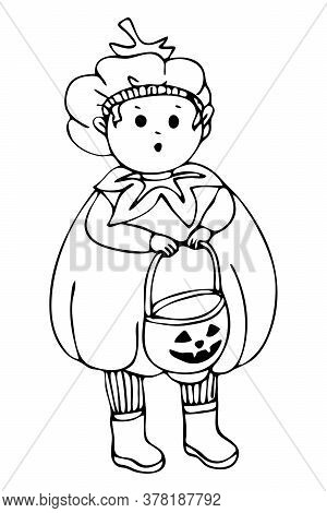 Baby Boy Small Dressed Up For Halloween Pumpkin Boy Is Afraid To Ask For Candy. Hand Drawn Black And