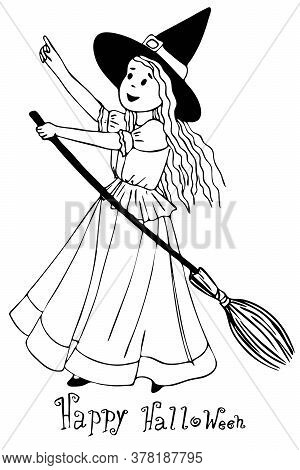 A Girl Dressed As A Halloween Witch, Ask For Candy. Draw A Black-and-white Outline Isolated On A Whi