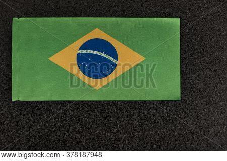 Flag Of Brazil On Black Background. National Symbol Of Federative Republic Of Brazil.