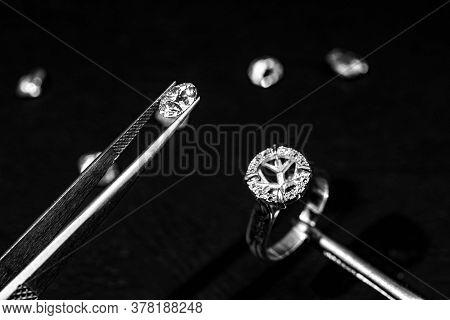Diamond Placing On Ring. Jewelry Diamond Making.