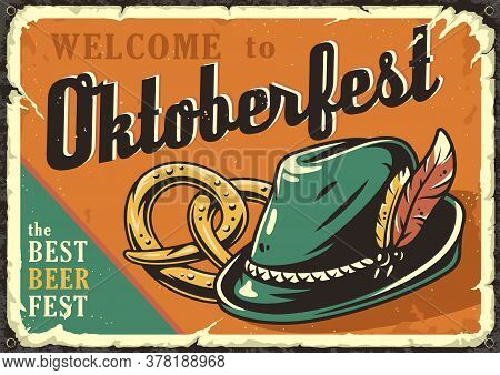 Retro Poster With Bavarian Hat And Pretzels