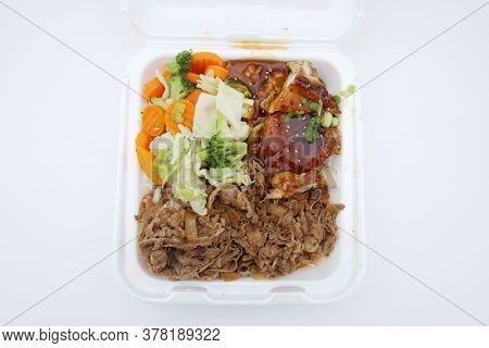 Beef, Chicken, Vegetables. Fast Food of Beef Chicken and Vegetables for Lunch or Dinner.