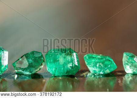 Natural Precious Green Emerald Gemstones. Expensive Natural Loose Stones
