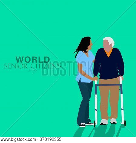Vector Illustration Of World Senior Citizen's Day Which Is Observed On 21st August. Elderly People W