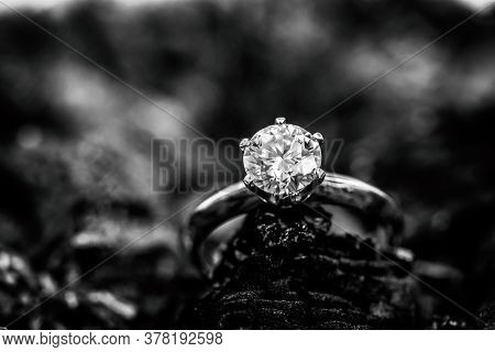 Engagement Diamond Ring. Luxury Precious Jewelry Ring