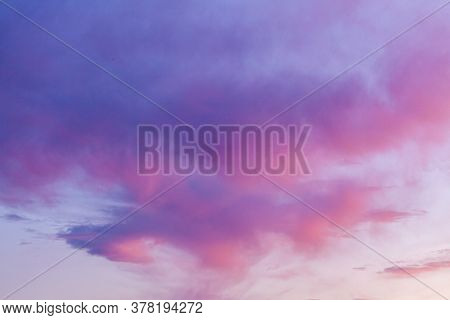Pink Sunset Sky And Clouds In Early Morning Landscape