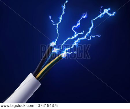 Sparking Cables On Dark Blue Background, Closeup. Electrician's Supply