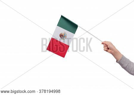 Child Hand Holds Flag Of Mexico Isolated On White Background