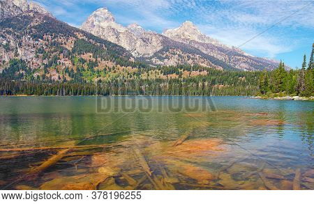 View Of Taggart Lake And Surrounding Mountains In Grand Teton National Park.wyoming.usa
