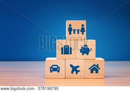 Insurance Concept. Assurance And Insurance: Car, Real Estate And Property, Travel, Finances, Health,