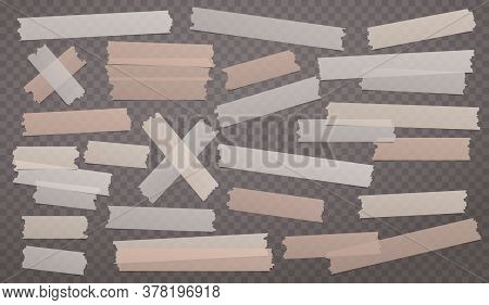 Brown Different Size Adhesive, Sticky, Masking, Duct Tape, Paper Pieces Are On Squared Background
