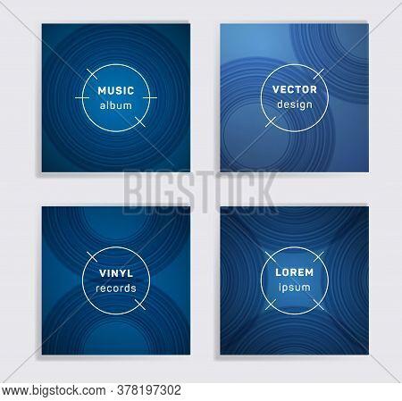 Geometric Vinyl Records Music Album Covers Set. Semicircle Curve Lines Patterns. Futuristic Creative