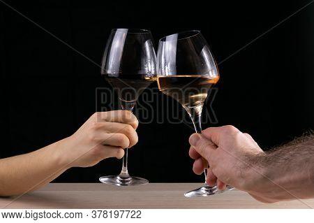 Rosé And Bourgogne In Glasses. Cheering, Festive Moment