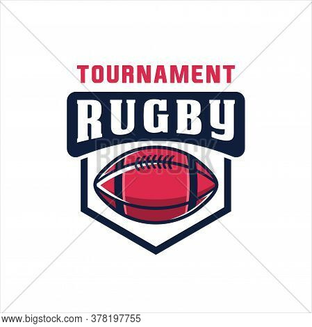 Rugby Logo, American Logo Sport, Rugby Logo Template Vector, Isolated On White Background, Rugby Clu
