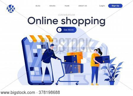 Online Shopping Flat Landing Page. Shopping With Mobile Application, Couple With Trolley Full Of Pur