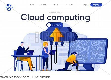 Cloud Computing Flat Landing Page. Engineers Servicing Cloud Database System Vector Illustration. Ho