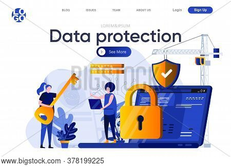 Data Protection Flat Landing Page. Cybersecurity Specialist Consultation With Client Vector Illustra
