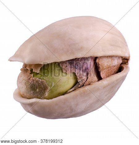 One Pistachio Nut In Shell, Isolated On White Background, Extreme Close, Maximum Detailed Nut Textur
