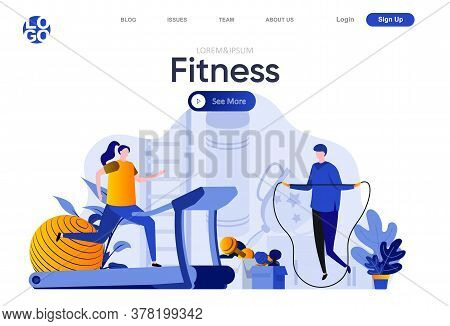 Fitness Flat Landing Page. Man Jumping With Rope, Woman Running On Treadmill Vector Illustration. Tr