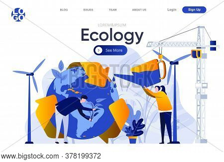 Ecology Flat Landing Page. People Planting Trees And Watering Earth Globe Vector Illustration. Globa