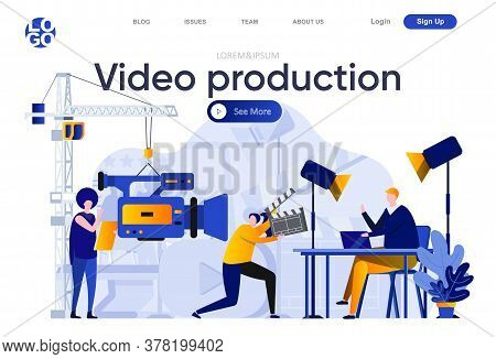 Video Production Flat Landing Page. Operator With Video Camera And Assistant In Studio Vector Illust