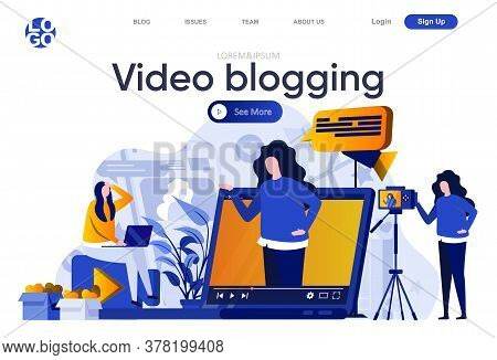Video Blogging Flat Landing Page. Professional Blogger Making Video, Vlogging And Streaming Vector I